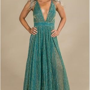 Teal and Gold Shimmery Maxi Dress